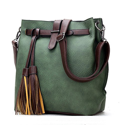 Women Handbag,Women Bag, KINGH Vintage PU Leather Shoulder Bag Tassel Crossbody Bag 084 Green