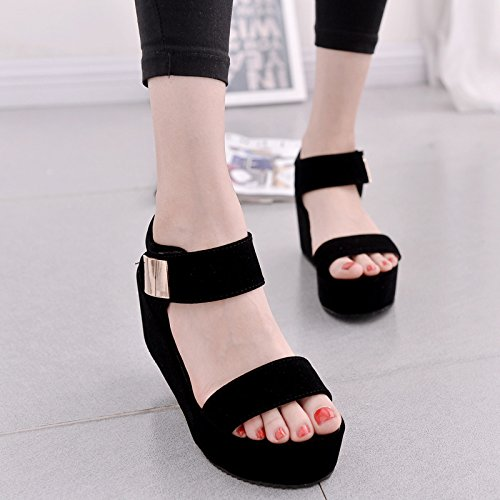 Tide Shoes Summer Mouth Heeled Shoes High Sandals Korean Fashion Women'S Women'S Rome Sandals Thirty five Heeled Women'S Heel Fish KPHY E8nqSZ6n