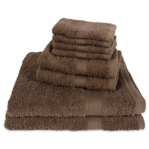 E-Living Store FBA43925 100% Cotton Multi-Purpose Absorbent Face Gym, Spa, Hotel and Home-Set of 8 Includes: 4 Washcloths, 2 Hand 2 Bath Towels by E-Living Store