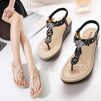 LvYuan Tacón Cuña-Confort Zapatos del club-Sandalias-Oficina y Trabajo Vestido Informal-PU-Negro Almendra Black