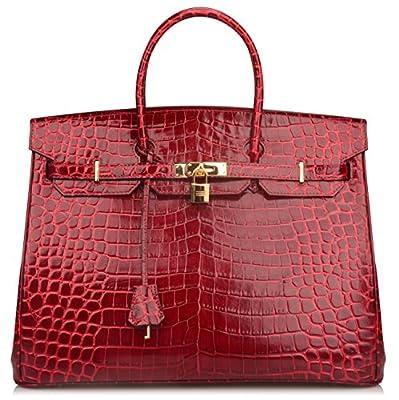 Ainifeel 40cm Oversized Patent Leather Padlock Handbag Laptop Purse Business Handbags