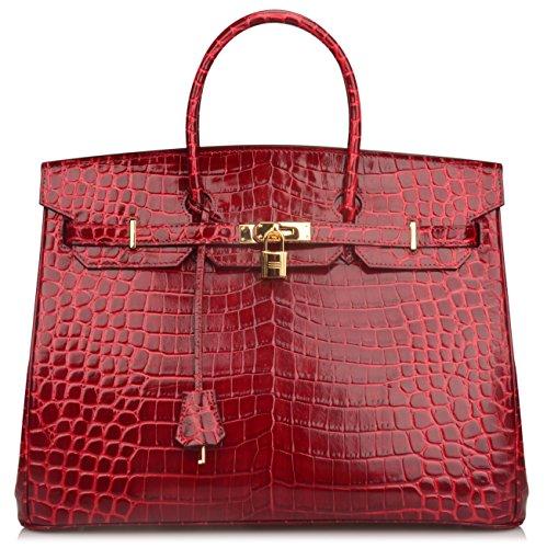 Ainifeel 40cm Oversized Patent Leather Padlock Handbag Business Purse (40cm OVERSIZE, Claret red) by Ainifeel (Image #1)