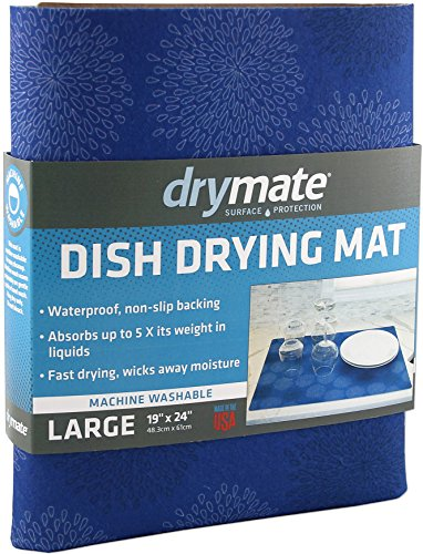 Drymate Dish Drying Mat, Premium XL (19 Inches x 24 Inches) Kitchen Dish Drying Pad - Absorbent/Waterproof - Machine Washable (Made in the USA) (Good Medicine Blue)