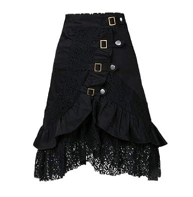 kewing Falda de Encaje Negro Retro gótico Punk para Mujer ...