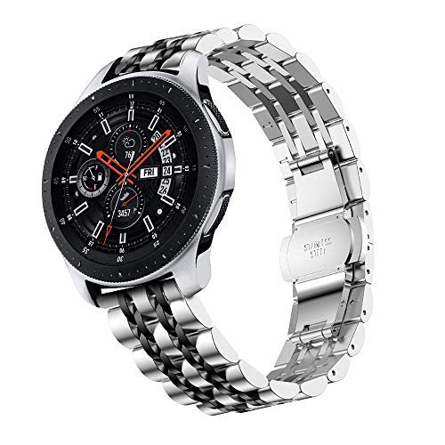 Junboer Compatible with Gear S3 Frontier Bands, 22mm Solid Stainless Steel Metal Watch Band Bracelet Strap Wristband Replacement for Samsung Gear S3 Frontier/Classic/Galaxy Watch 46mm Smart Watch