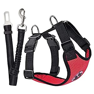 SlowTon Dog Car Harness Seatbelt Set, Pet Vest Harness with Safety Seat Belt for Trip and Daily Use Adjustable Elastic… Click on image for further info.
