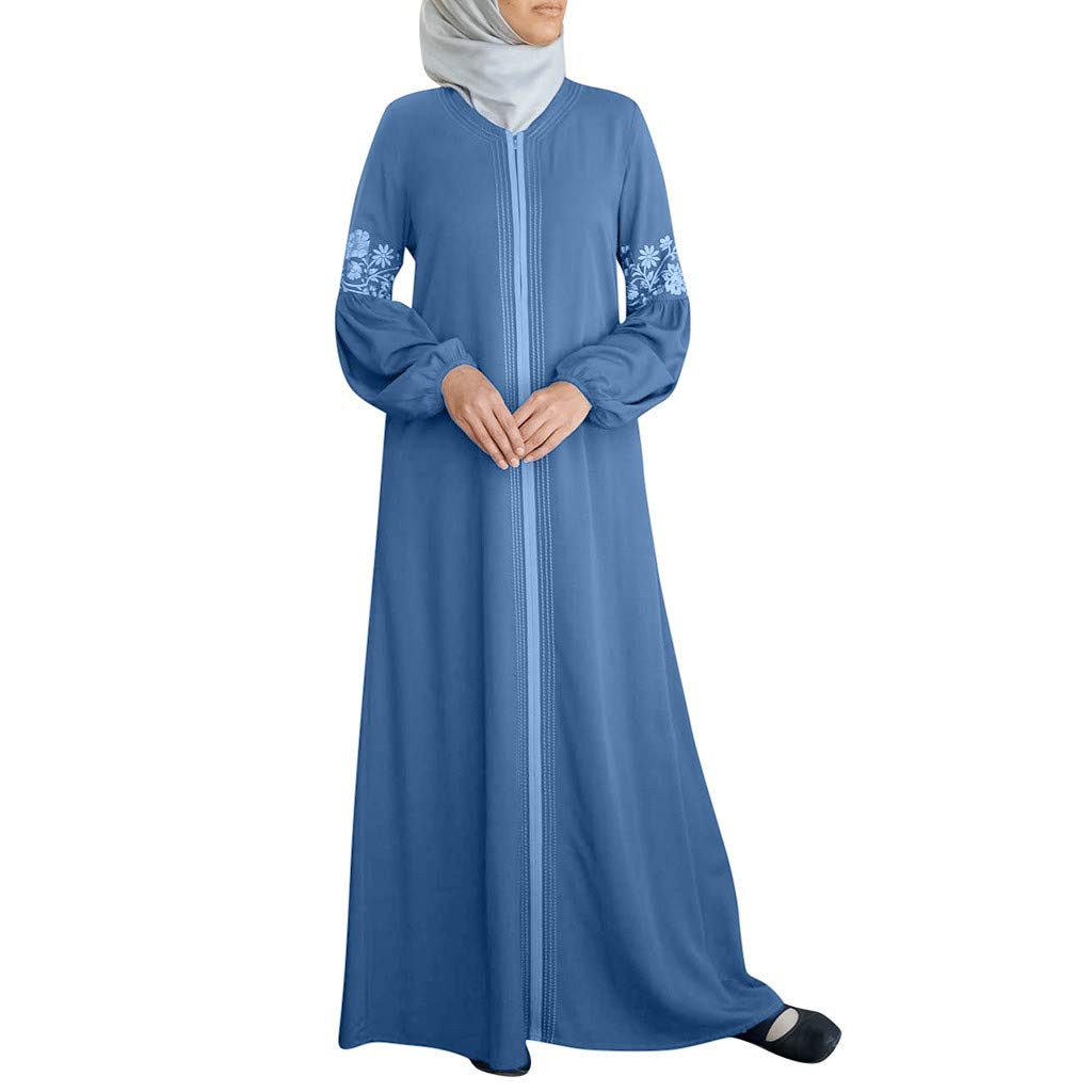 TIFENNY Long Sleeve Muslim Robes for Women Muslim Abaya Long Dress Floral Printed Vintage Kaftan Islamic Maxi Dresses Tops Light Blue