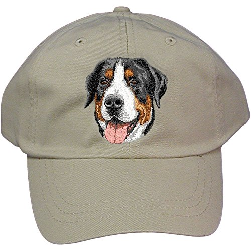 Cherrybrook Dog Breed Embroidered Adams Cotton Twill Caps - Stone - Greater Swiss Mountain Dog