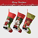 2018 New Luxsego Christmas Stockings Set of 3, Big Size 18'' Durable Xmas Stocking for Kids Gifts, Christmas Hanging, Tree Ornament, Home Decor - 3D Applique Reindeer, Santa, Snowman