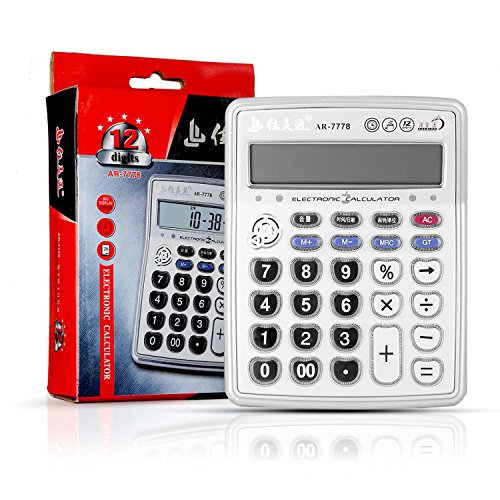 2018 Lastest Version – Desktop Electronic Musical Calculator, Portable 12-Digits LCD Display Calculator with Alarm Clock…