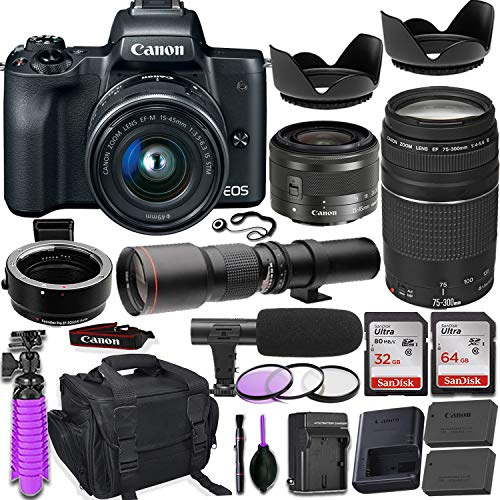 Canon EOS M50 Mirrorless Digital Camera (Black) Premium Accessory Bundle  with EF-M 15-45mm is STM Lens (Graphite) + Canon Gadget Case + 64GB Memory  +