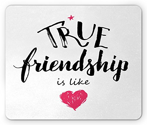 Ambesonne Quote Mouse Pad, True Friendship is Like Lettering Completed by Pink Scribbled Heart Icon, Standard Size Rectangle Non-Slip Rubber Mousepad, Black White and Pink (Hearts Scribbled)