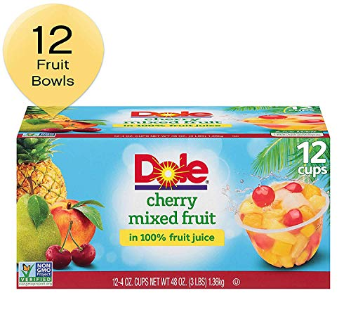 Dole Fruit Bowls, Cherry Mixed Fruit in 100% Fruit Juice, 4 Ounce (12 Cups) (2 Pack(12 Cups))