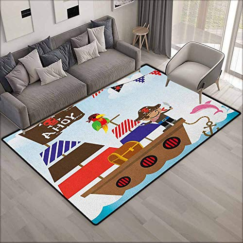 Outdoor Patio Rug,Ahoy Its a Boy Cute Pirate Kids Treasure Chest with Ship on Ocean Background Illustration,Anti-Slip Doormat Footpad Machine Washable,6'6