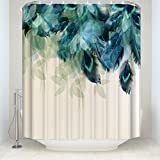 Prime Leader Watercolor Decor Shower Curtain Peacock Feather Pattern Waterproof Polyester Fabric Bathroom Shower Curtains Set with Hooks,72'(w) x 78'(h)