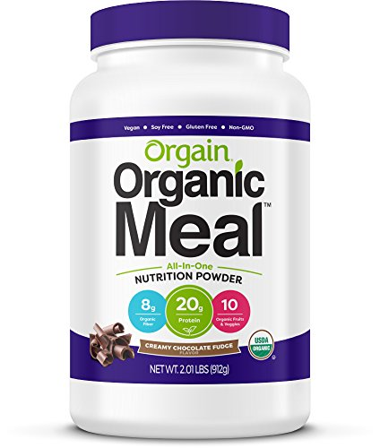 Orgain Organic Plant Based Meal Replacement Powder, Creamy Chocolate Fudge - 20g Protein, Vegan, Dairy Free, Gluten Free, Lactose Free, Kosher, Non-GMO, 2.01 Pound (Packaging May Vary) (Best Rated Meal Replacement Shakes)