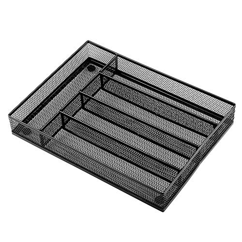 - Kitchen Cutlery Trays, 5 Compartments Steel Mesh storage | The Mesh Collection (Black)