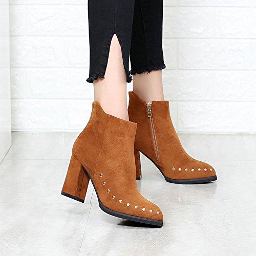 khskx-short botas punta tacón corto botas botines tacones altos invierno remaches Martin botas amarillo marrón, Thirty-six Thirty-five