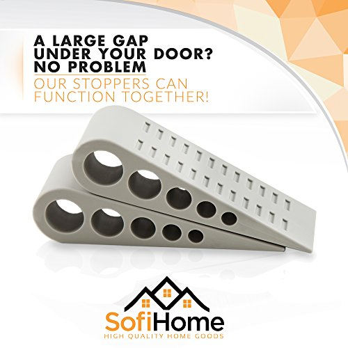 Door Stopper 6 Pack [1.3'' high] - Bonus EBOOK & Holders - SofiHome Premium Heavy Duty Door Stop Rubber Wedge with Decorative Holder - Ideal for Large & Small Door Gaps - The Original (6, Gray) by SofiHome (Image #5)