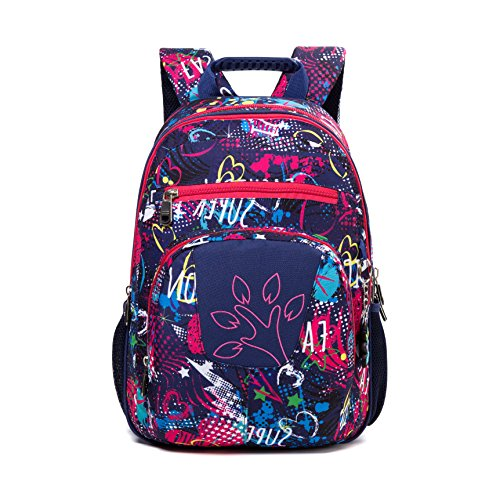 SHIPE School Backpack Casual Daypack for Girls & Boys Kids Elementary School Bags Bookbag (purple, 17inch)