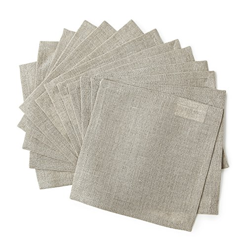 tail Napkins, 6 x 6 Inch Set of 12 Linen Napkins, Professional Grade, For Wedding and Everyday Use, Natura Design, Natural Color Cocktail Napkins by Solino Home (Black Cocktail Bunny)