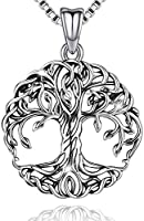 Aniu Tree of Life Necklace, Celtic Family Tree Pendant for Women, Sterling Silver Jewelry Gift - Oxidized Special Effect