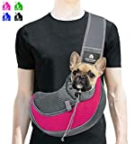 BREADEEP Pet Sling Carrier, Small Dog Cat Sling Bag for Travel, Hands Free Front Pack Chest Carrier with Breathable Mesh Pouch, Rose in S