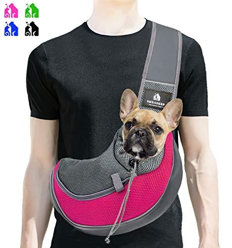 Hands Free Sling - BREADEEP Pet Sling Carrier, Small Dog Cat Sling Bag for Travel, Hands Free Front Pack Chest Carrier with Breathable Mesh Pouch, Rose in M