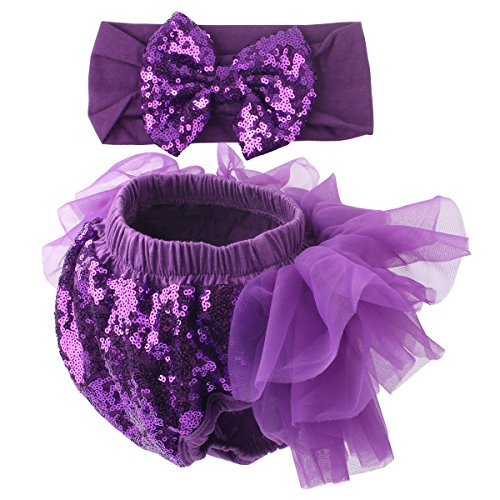 Slowera Baby Girls 2PCS Sets Cotton Tulle Sequins Diaper Cover Bloomers and Headband (Purple, S: 0-6 Months)