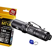 NiteCore MT1A 180 Lumens Compact Mini LED Flashlight w/ Clip & Bonus Lumen Tactical Keychain Light - Use 1 x AA Battery