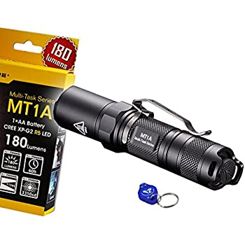 NiteCore MT1A 180 Lumens Compact Mini LED Flashlight w/Clip & Bonus Lumen Tactical Keychain Light - Use 1 x AA Battery