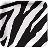 Creative Converting Animal Print Zebra Square Dessert Plates, 8 Count