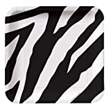 Creative Converting Animal Print Zebra Square Dessert Plates, 8 Count