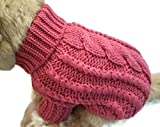 Le Petit Chien Handmade Knitwear Soft Sweater for Small Dogs or Puppies (Medium, Rose)