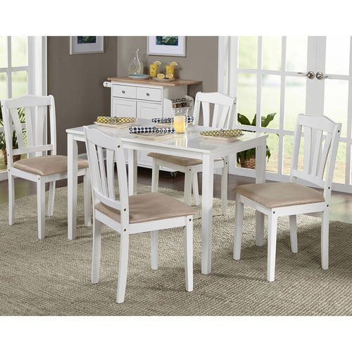 NEW 5-Piece Dining Set, Multiple Colors (White)