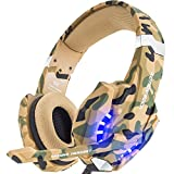 Electronics : BENGOO Stereo Gaming Headset for PS4, PC, Xbox One Controller, Noise Cancelling Over Ear Headphones with Mic, LED Light, Bass Surround, Soft Memory Earmuffs for Laptop Mac Nintendo Switch –Camouflage