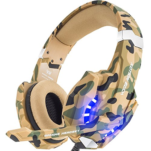 BENGOO Stereo Gaming Headset for PS4, PC, Xbox One Controller, Noise Cancelling Over Ear Headphones with Mic, LED Light, Bass Surround, Soft Memory Earmuffs for Laptop Mac Nintendo Switch –Camouflage (Mic Controller)