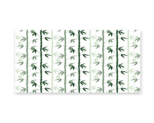 Lunarable Bamboo Wall Art, Asian Forest Inspired Pattern Feng Shui Theme Zen Spa Nature Design, Gloss Aluminium Modern Metal Artwork for Wall Decor, 23.5 W X 11.6 L Inches, Dark Green Pale Green White by Lunarable (Image #1)