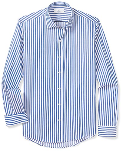 Bengal Stripe Striped Dress Shirt - BUTTONED DOWN Men's Slim Fit Supima Cotton Spread-Collar Dress Casual Shirt, Blue/White Large Bengal Stripe, M 34/35