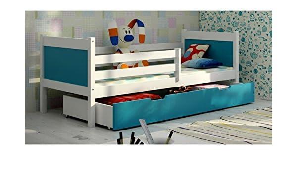 JUSTyou Leon Cama Nido Juvenil Individual con cajones (LxBxH): 190x85x75 cm Blanco Azul: Amazon.es: Hogar
