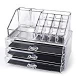 Generic YanHong-US3-151027-117 8yh2482yh r 2 pcs Clear Jewelry Chest Make ke Up Case Cosmetic Holder Cosmetic Up Case Organizer awers Jew Large 3 Drawers der Large 2 pcs Clear