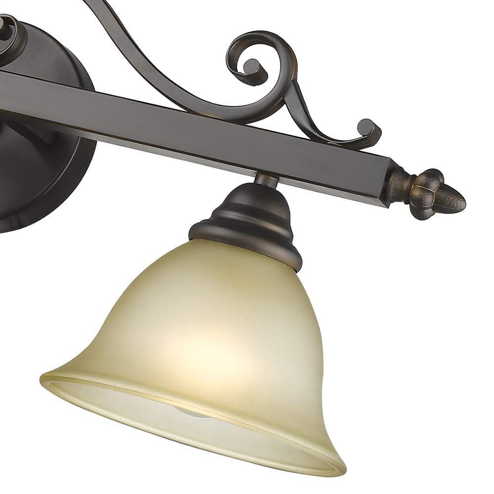 Siret Lighting ST1059-ORB Lilianna 3-Light Oil Rubbed Bronze Tea-Stained Glass Shades Bath Bar Raw Brass