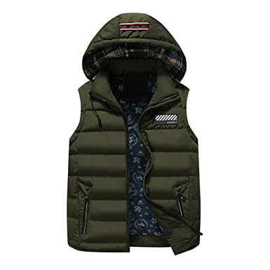 7c44052cc095c Zichhing Men Vest Cotton Padded Hooded Warm Vests Casual Windproof Thicken  Army Green M
