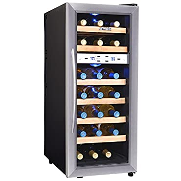 NewAir AW-211ED Dual Zone Wine Cooler, 21 Bottle, Stainless Steel