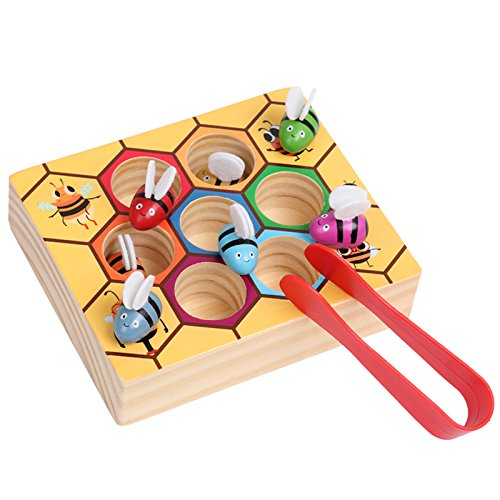 Moonio Wooden Lovely Bee Picking Toy Catching Practices for Baby Early Educational Toddler Montessori Game Colorful Beehive Box by Moonio (Image #3)