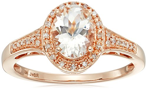 10k Rose Gold Morganite with Diamond accent Ring, Size 7