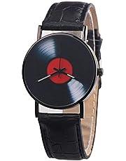 Docooler Unisex Casual Retro Leather Band Quartz Watch Fashion Classic Phonograph Record Wrist Watch