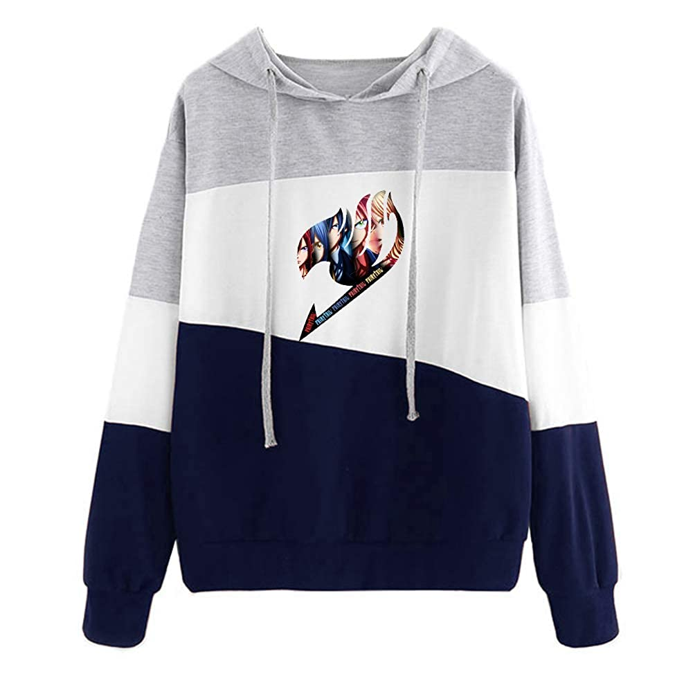 Tayaho Unisex Fairy Tail Confortable Patchwork Sweats /à Capuche pour Hommes et Femmes Automne et Hiver D/écontract/ée Dessin Anim/é Imprim/ÉEs Sweat-Shirt /à Capuche