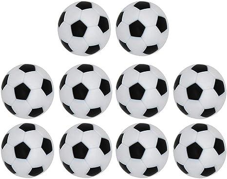 LIOOBO 10 Piezas de 32 mm de Mesa de fútbol Juego de futbolín Juego de reemplazo Juego de Mesa Oficial Balones de fútbol (Negro Blanco): Amazon.es: Deportes y aire libre