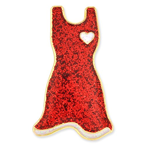 PinMart's Glitter Red Dress American Heart Month Enamel Lapel Pin (Dresses With Hearts For Women)